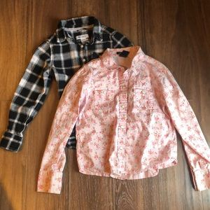 Two Long Sleeve Button Up Shirts-GAP-tractr sz 5/6
